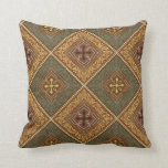 Victorian Pattern - Brown and Green Throw Pillows