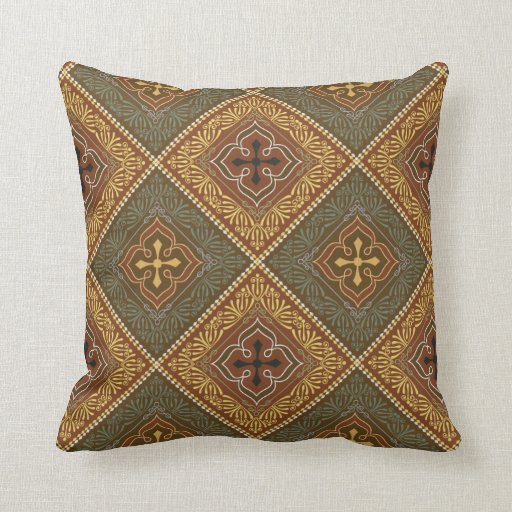 Victorian Throw Pillows : Victorian Pattern - Brown and Green Throw Pillows Zazzle