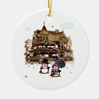 Victorian Penguins at Home Ornament