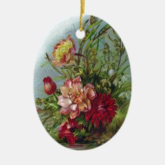 Victorian Peony, Dahlias and Snowdrops Ceramic Ornament