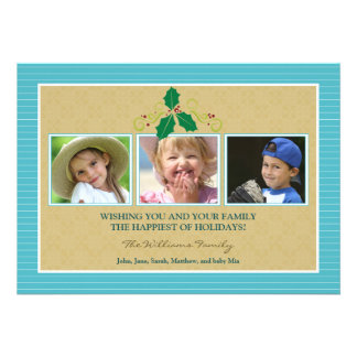 Victorian Photo Trio Family Holiday Card aqua Personalized Announcements