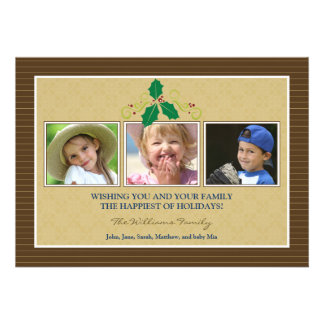Victorian Photo Trio Family Holiday Card brown Custom Invites
