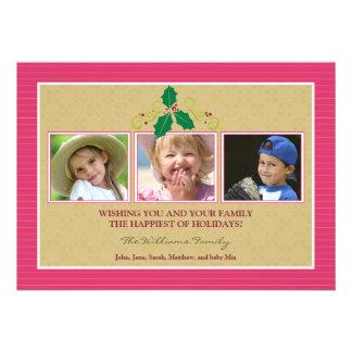 Victorian Photo Trio Family Holiday Card fuchsia Personalized Invites