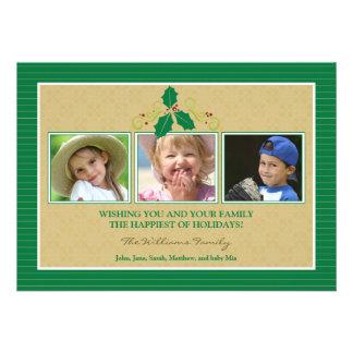 Victorian Photo Trio Family Holiday Card green Custom Invite