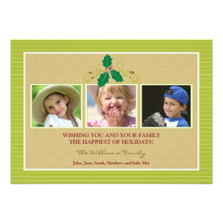 Victorian Photo Trio Family Holiday Card lime Custom Announcement