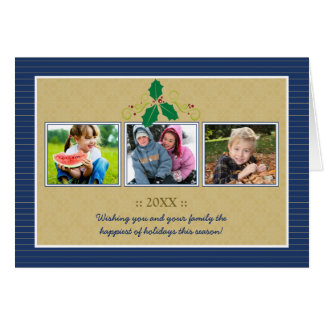 Victorian Photo Trio Family Holiday Card (navy)