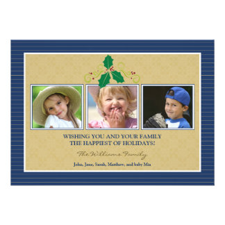 Victorian Photo Trio Family Holiday Card navy Announcement