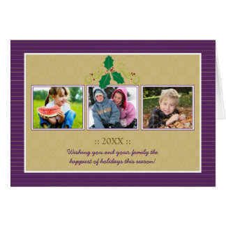 Victorian Photo Trio Family Holiday Card (purple)