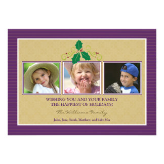 Victorian Photo Trio Family Holiday Card purple Custom Announcements