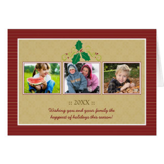 Victorian Photo Trio Family Holiday Card (red)