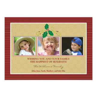 Victorian Photo Trio Family Holiday Card red Personalized Invites