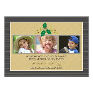 Victorian Photo Trio Family Holiday Card slate Custom Invites
