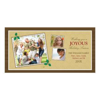 Victorian Photo Trio Holiday Photo Card (brown)