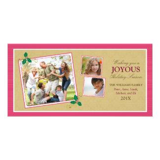 Victorian Photo Trio Holiday Photo Card (fuchsia)