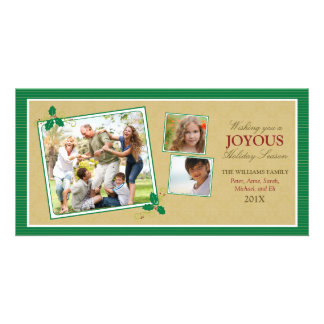 Victorian Photo Trio Holiday Photo Card (green)