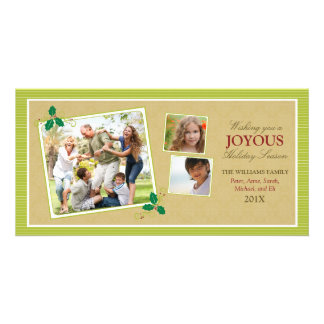 Victorian Photo Trio Holiday Photo Card (lime)