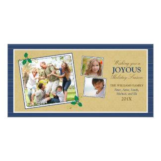 Victorian Photo Trio Holiday Photo Card (navy)