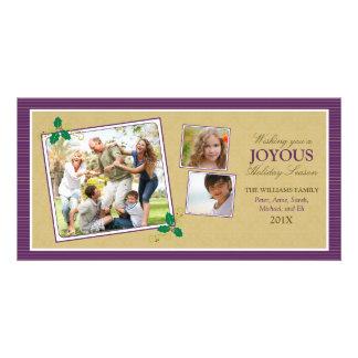 Victorian Photo Trio Holiday Photo Card (purple)