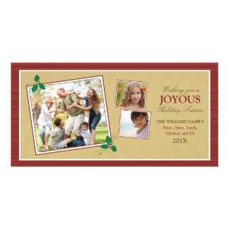 Victorian Photo Trio Holiday Photo Card (red)