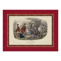 Victorian Picnic Scene with Children Vintage Print