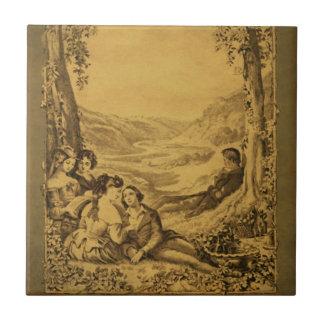 Victorian Picnic Vintage Art Tile