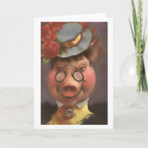 Victorian Pig Lady Card