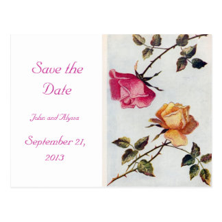 Victorian Pink and Yellow Roses Save the Date Card Postcards
