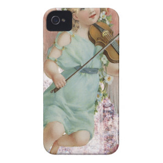 Victorian Pink Cherub Angel Playing Violin iPhone 4 Cover