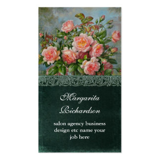 victorian pink damask roses blue business cards standard business cards