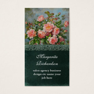 victorian pink damask roses blue business cards