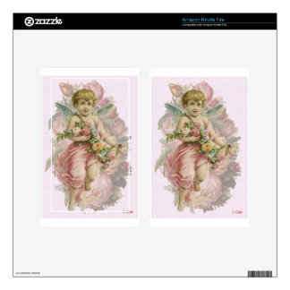 Victorian Pink Flower Cherub Angel Wings Decal For Kindle Fire