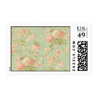 Victorian Pink Flower Lane Postage Stamp