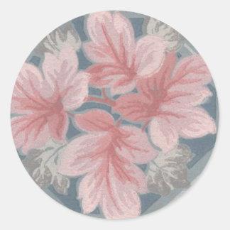 Victorian Pink Leaves Design Sticker