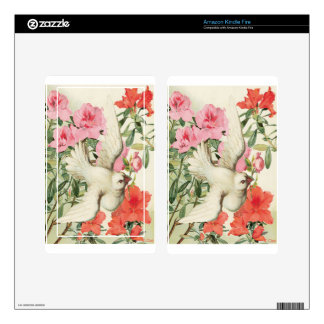 Victorian Pink Orange Flowers White Dove Kindle Fire Skins