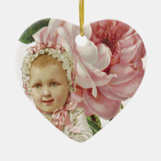 Victorian Pink Rose Baby Ceramic Ornament