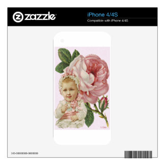 Victorian Pink Rose Baby Skin For iPhone 4S