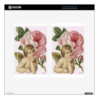 Victorian Pink Rose Cherub Bust Kindle Fire Decal