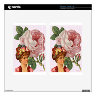 Victorian Pink Rose Lady Kindle Fire Decals