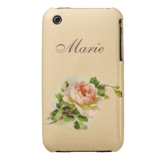 Victorian Pink Rose Personalized Case iPhone 3 Covers