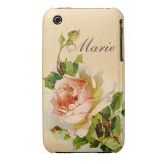 Victorian Pink Rose Personalized Case Case-Mate iPhone 3 Cases