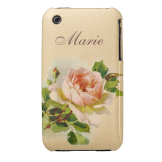 Victorian Pink Rose Personalized Case Case-Mate iPhone 3 Case