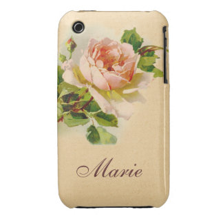 Victorian Pink Rose Personalized Case iPhone 3 Cases