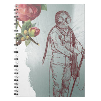 Victorian Pink Rose Steampunk Diver Collage Notebook