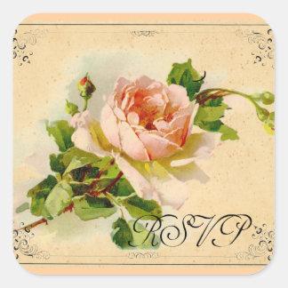 Victorian Pink Rose Square Sticker