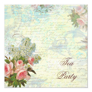 Victorian Pink Rose Tea Party 5.25x5.25 Square Paper Invitation Card