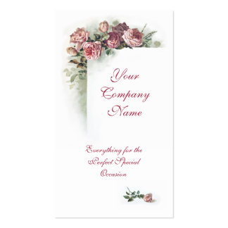 Victorian pink roses business card