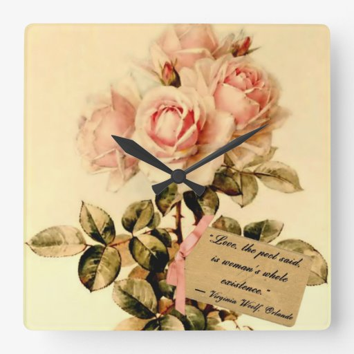 Victorian Pink Roses with Motivational Quote Wallclock