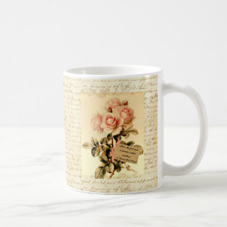 Victorian Pink Roses with Motivational Quote Coffee Mug
