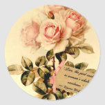 Victorian Pink Roses with Motivational Quote Classic Round Sticker