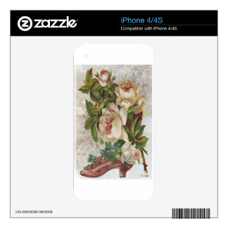 Victorian Pink Shoe White Roses Decal For iPhone 4